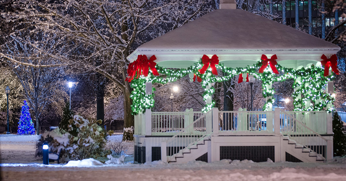 glens falls bandstand with holiday lights and fresh snow