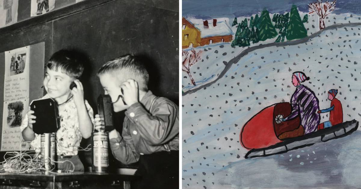 split image with black and white photo of kids on an old fashioned phone on the left and what looks like a child's painting of a child and parent sledding