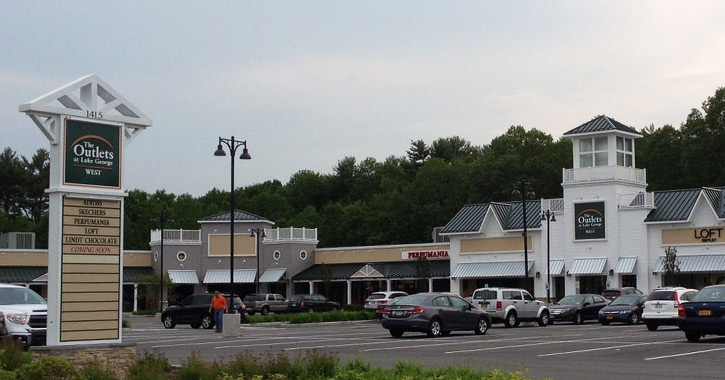 sign and exterior of outlet mall