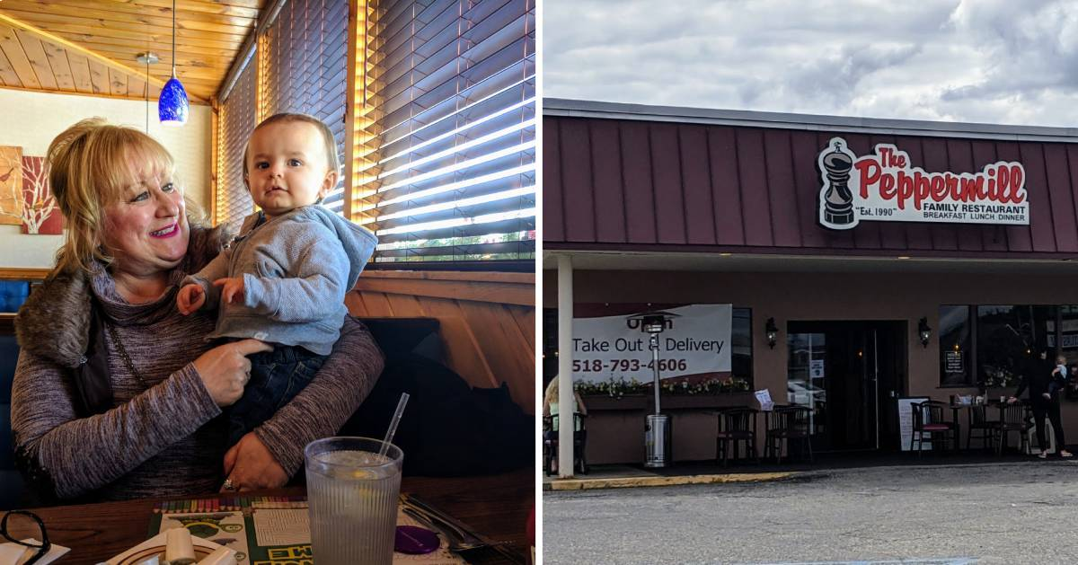split image with grandmother and baby in restaurant and outside of restaurant