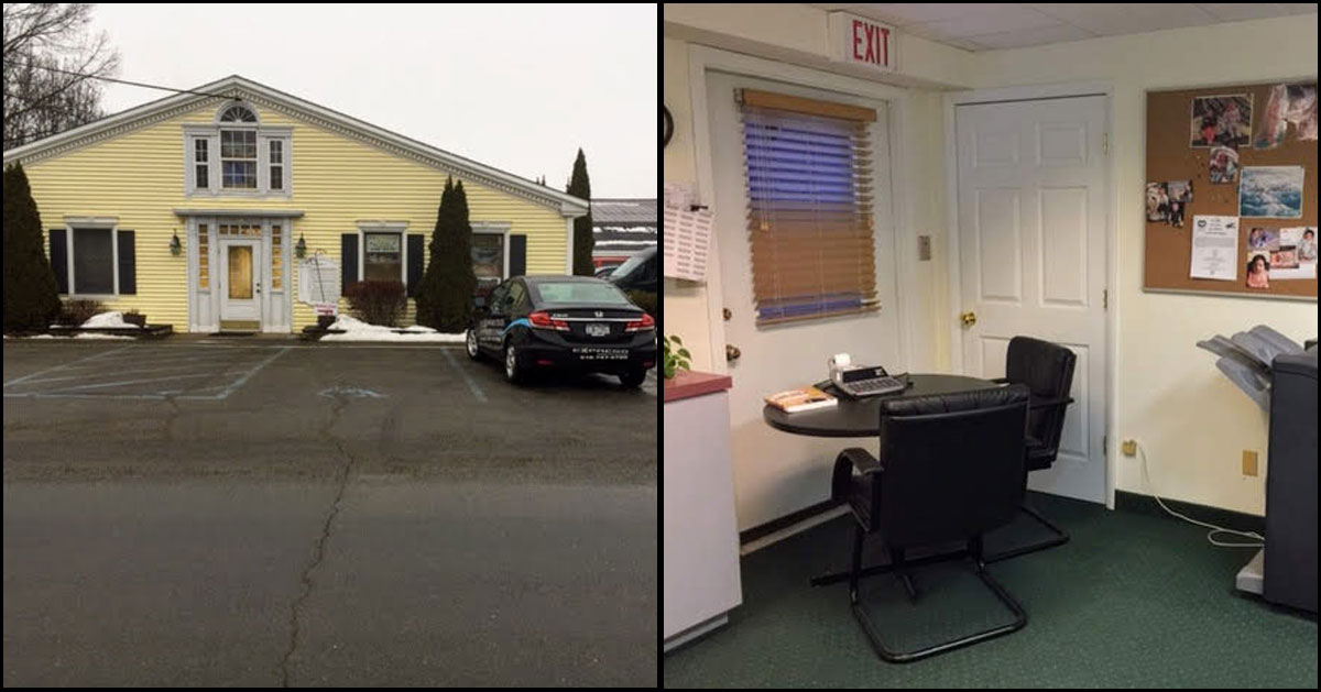 two side-by-side images, outside office on left, part of office inside on the right