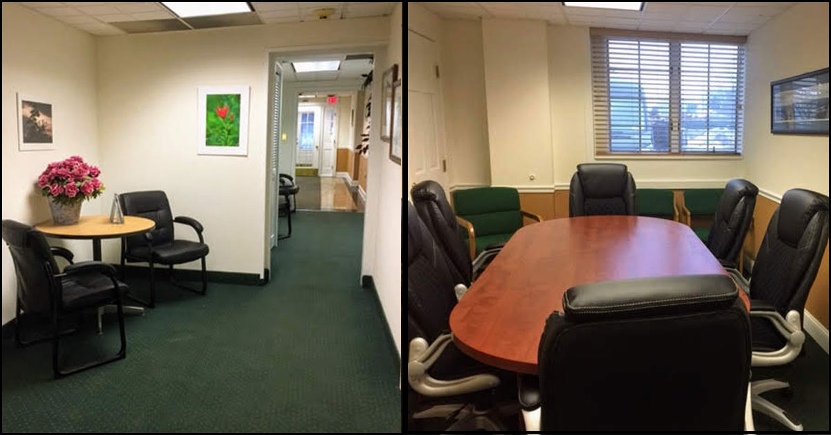 split image of office with hallway on the left and conference table on the right