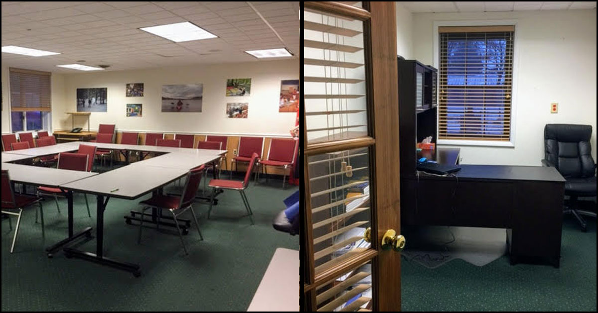 split image with large table with chairs on the left, inside of an office space on the right