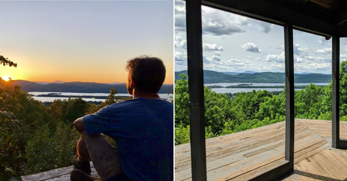 split image with man watching sunset at summit on left and summit view during day on right