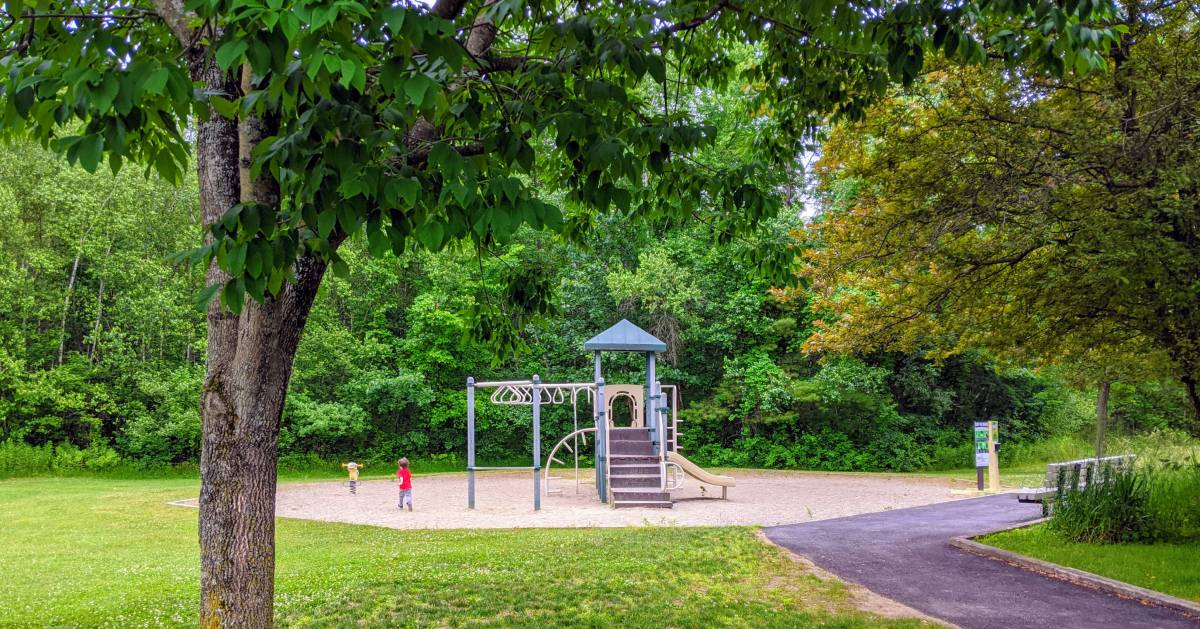 small playground, toddler, trees