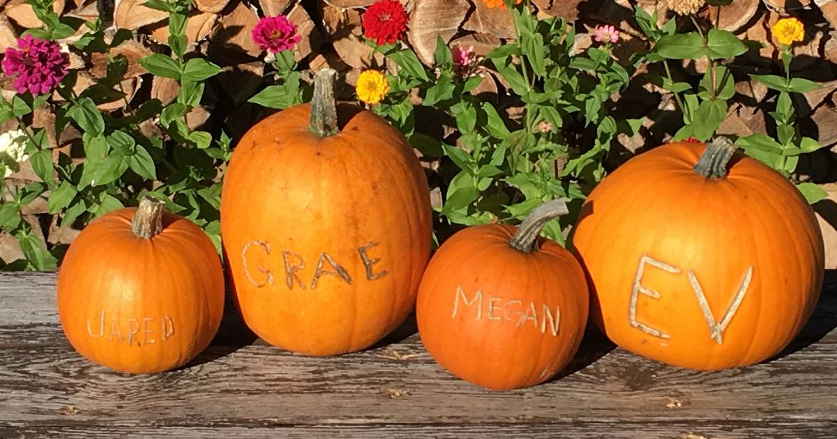 four pumpkins in a row with names carved in them