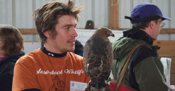 a guy in an Adirondack Wildlife tee-shirt holding a raptor