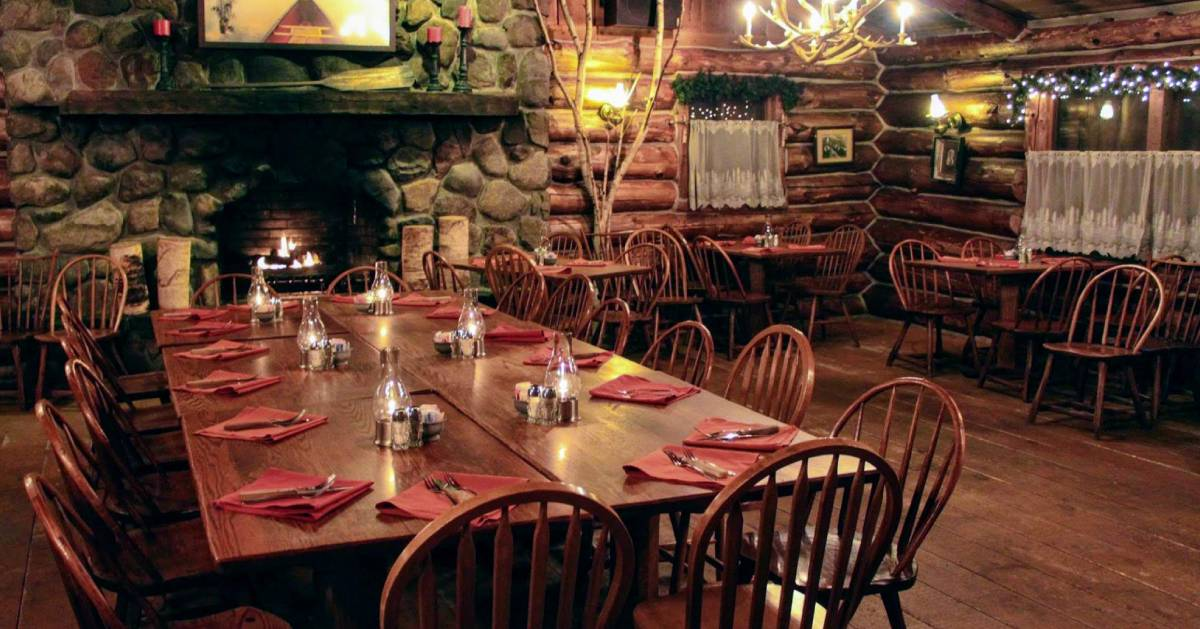 a large and rustic dining room