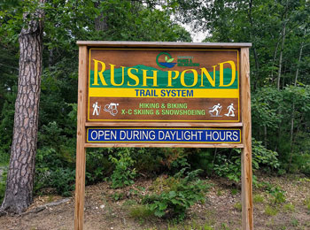 Rush pond trail system sign