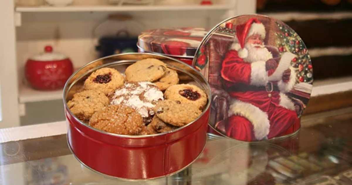 cookies in a tin from santa's workshop