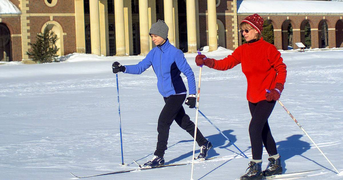 two cross-country skiers in Saratoga Spa State Park