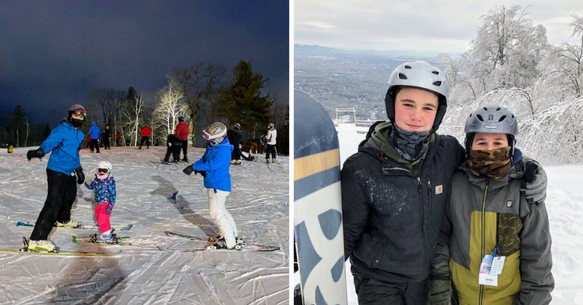 split image with family on skis on the left and two kids with a snowboard on the right
