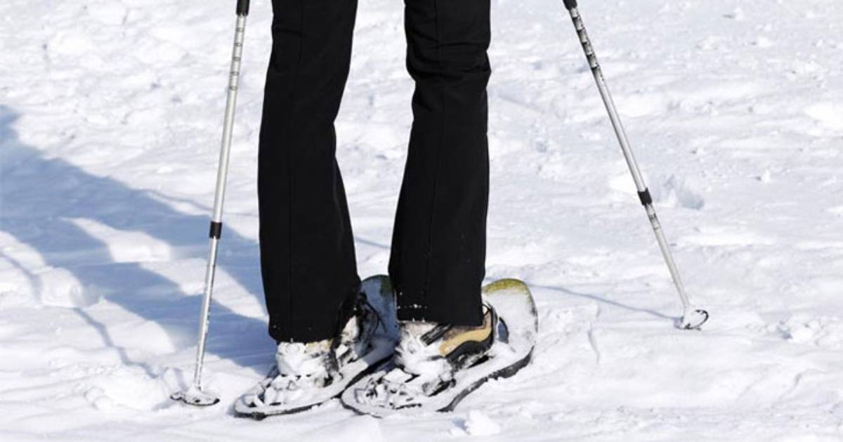 close up of snowshoes with walking poles