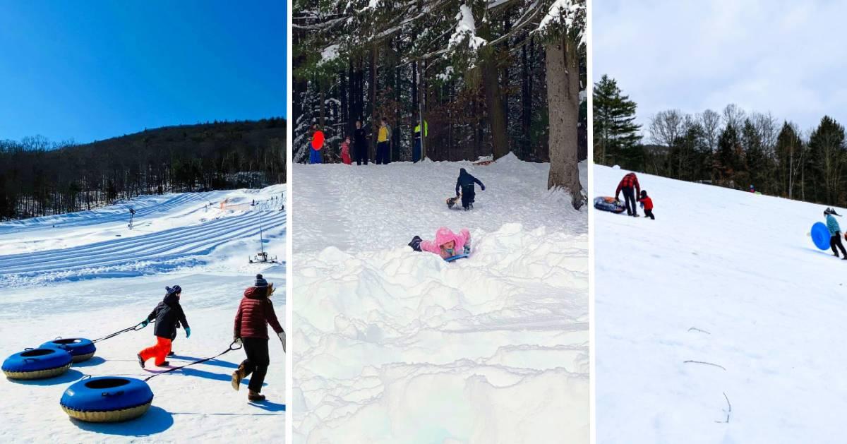 image split in three, all three photos are snow tubing