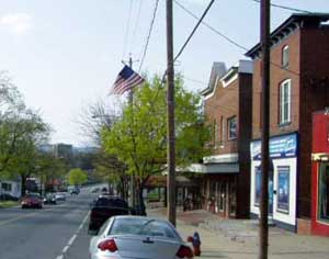 View from parking lane looking down Main Street in South Glens Falls