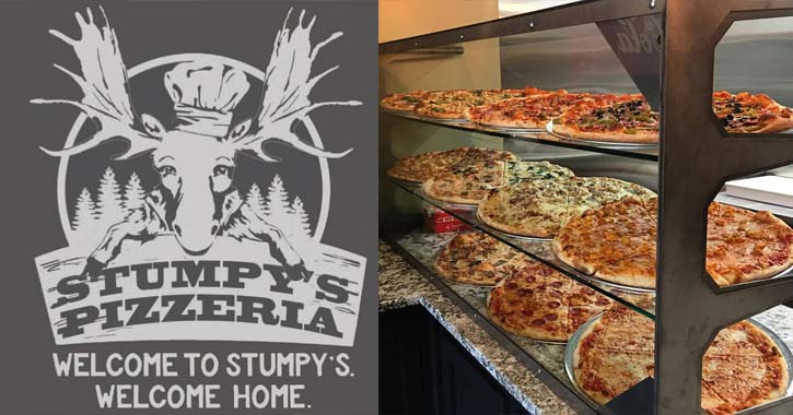 stumpy's pizzeria logo and pizza
