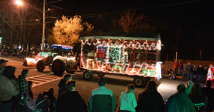 holiday tractor riding down road
