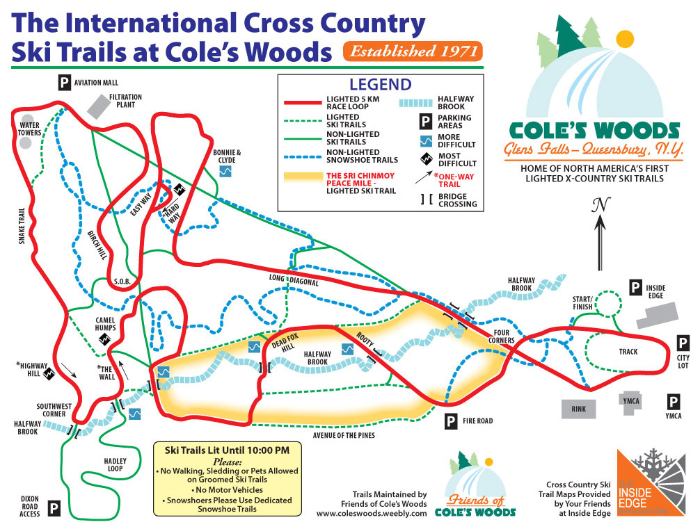 map of coles woods trails listed below, click for a larger off-site version