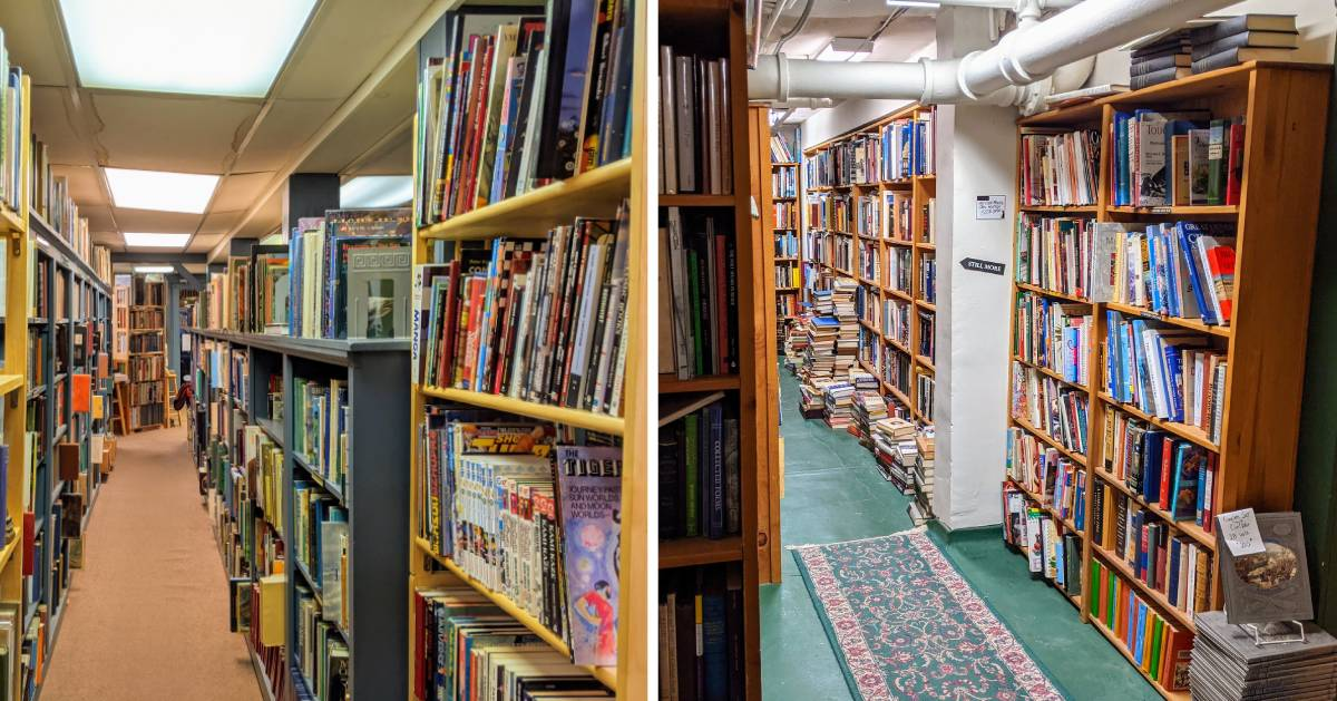 split image with inside of bookstores on each side