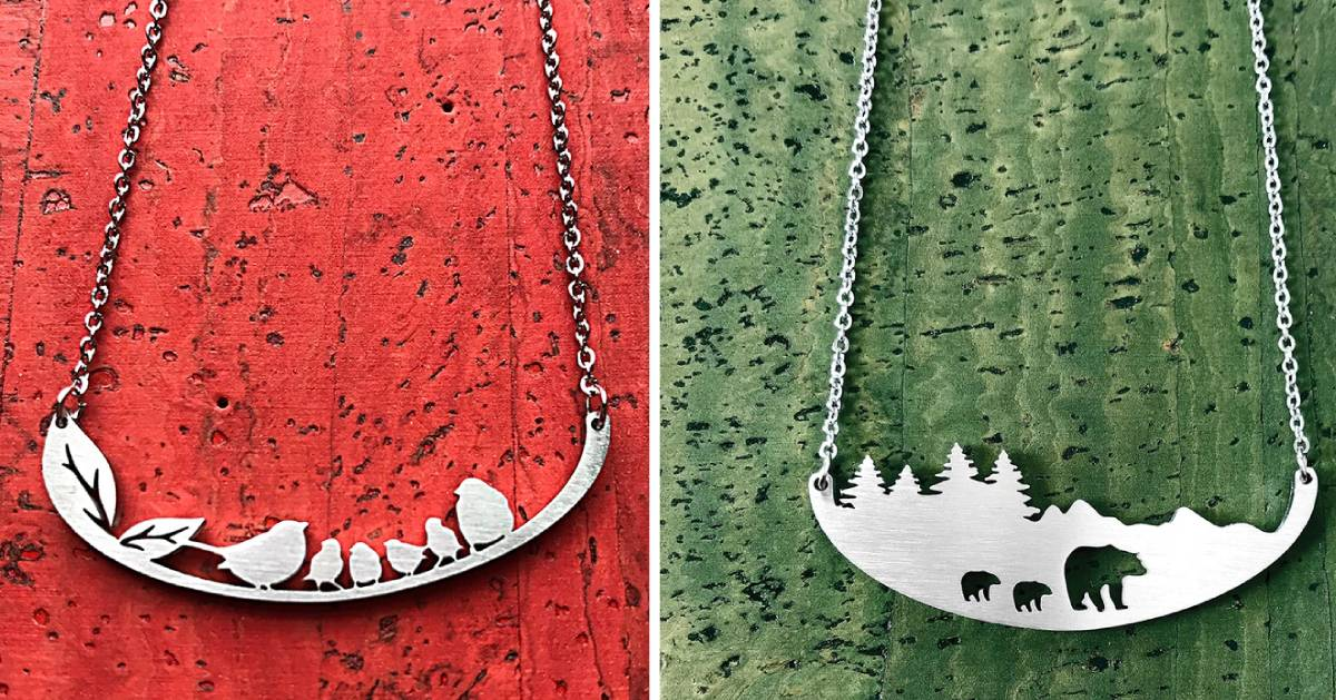 split image of two nature-themed necklaces