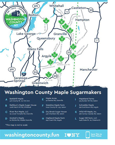 a map of participating maple businesses