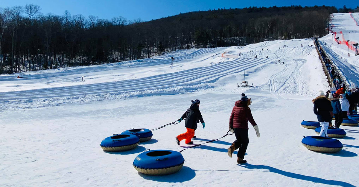 people tubing at west mountain