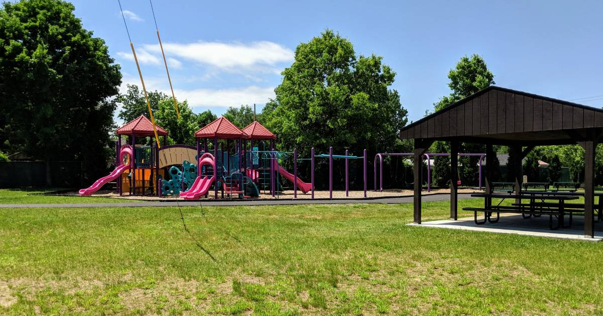 playground and pavilion and picnic tables