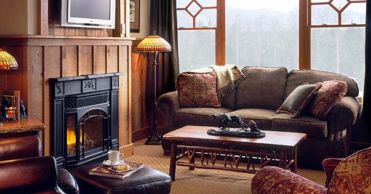 living room at whiteface lodge