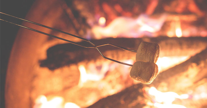 marshmallows roasting over fire