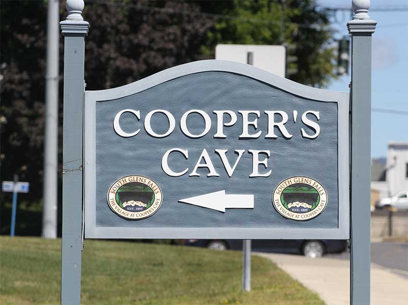 Sign for Cooper's Cave in Glens Falls NY