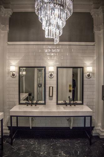 black and white restroom
