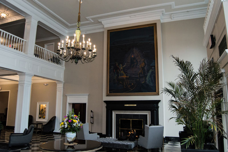 painting of cooper's cave in hotel lobby
