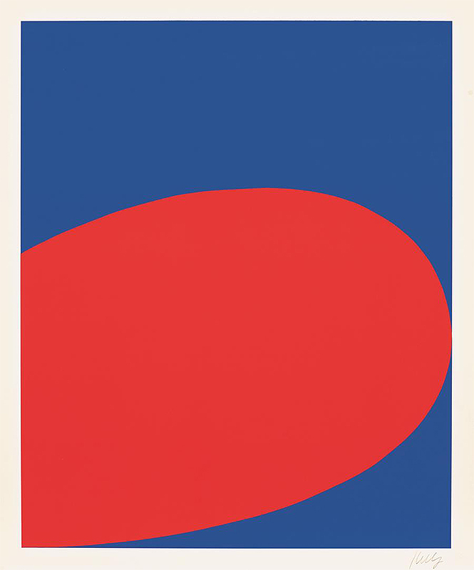 Abstract screenprint with a solid blue background and a large red rounded shape protruding from the left side of the piece.