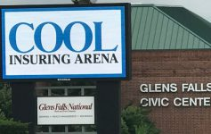 outside of the Glens Falls Civic Center with the new name up - Cool Insuring Arena