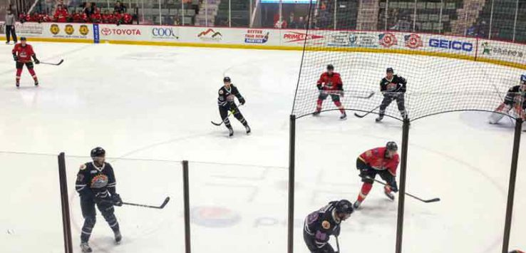 The Adirondack Thunder playing hockey against the Orlando Solar Bears at the former Glens Falls Civic Center