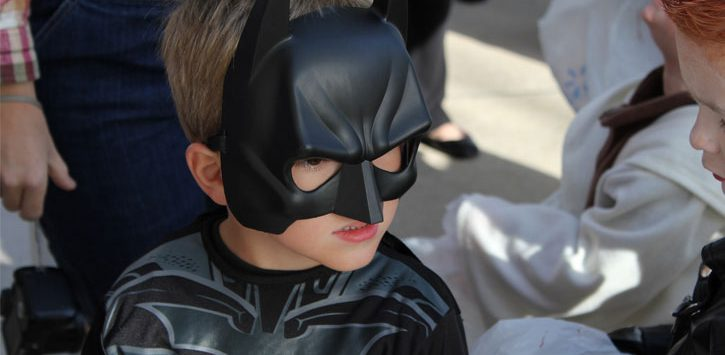 little boy dressed up as Batman