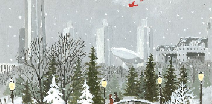 a folk painting of the Albany skyline in winter