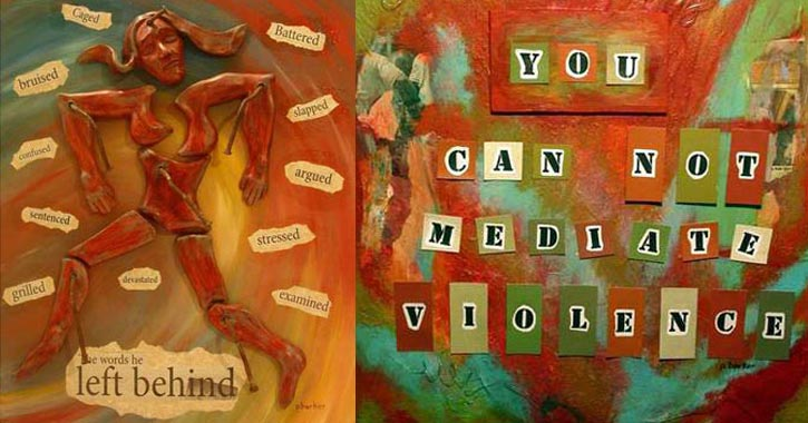 two artworks from domestic violence project