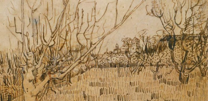 artwork of an orchard by van Gogh