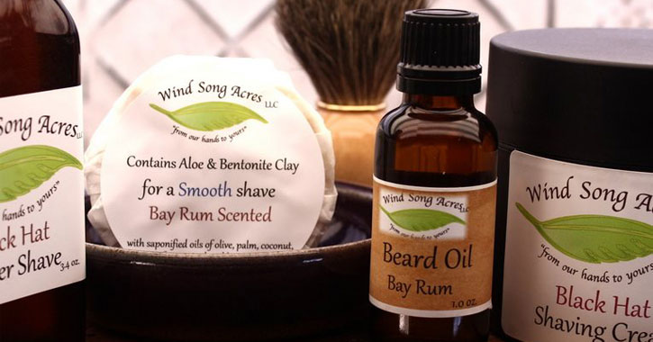 several Wind Song products - beard oil, shaving cream, etc.