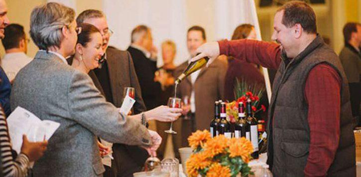 crowd at a wine tasting