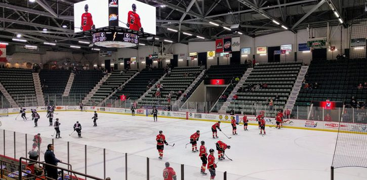 an Adirondack Thunder hockey game going on