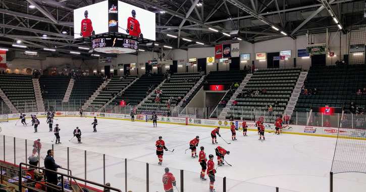 an Adirondack Thunder hockey game going on
