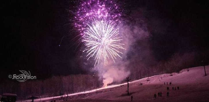 purple fireworks over West Mountain