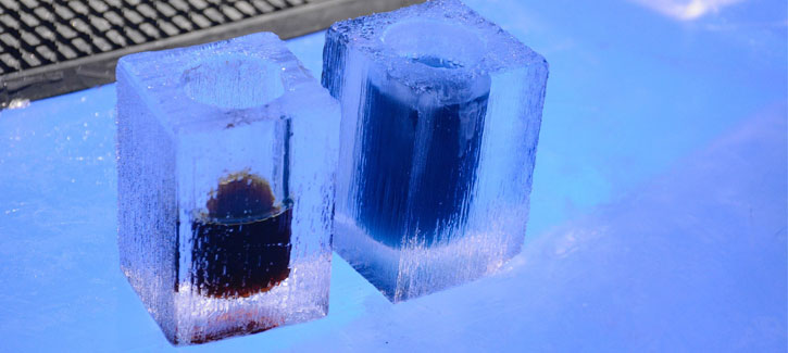 two ice shots at an ice bar