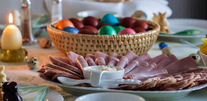 brunch spread on a table for Easter