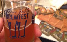 glass of beer with Glens Falls Brewfest logo on it