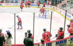 the Adirondack Thunder hockey team on the ice