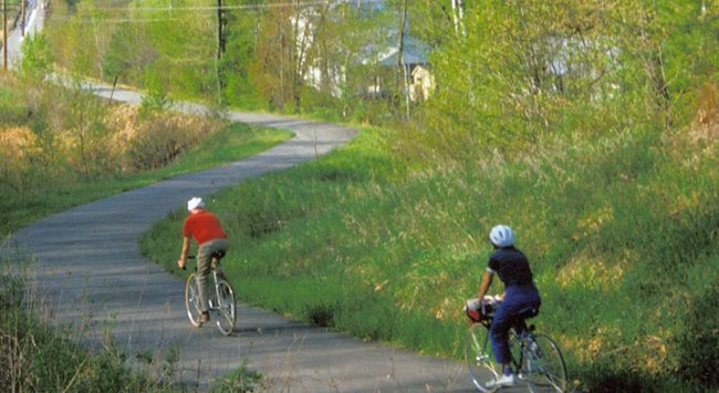 two bikers on the bike path