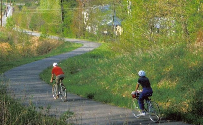 two bikers on the bike path